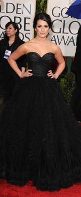 Lea Michele Wearing Black to 2010 Golden Globes
