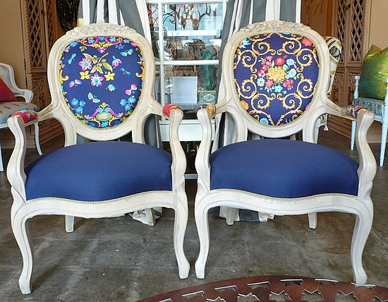 Reupholster vintage furniture with luxurious scarves. These chairs were reupholstered with vintage scarves.  Source