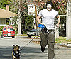 Slide Photo of Kellan Lutz Running With Dogs in Hollywood