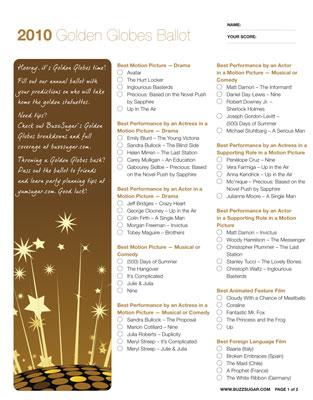 Print and Share My Golden Globes Ballot!