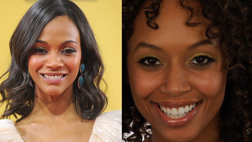 Zoe Saldana Gold Glimmer Eyeshadow Celebrity Makeup Look Critics Choice Awards 2010