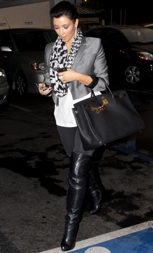 Kim Kardashian Wearing Gray Cropped Blazer in LA