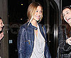 Slide Photo of Whitney Port Wearing a Navy Leather Jacket in LA