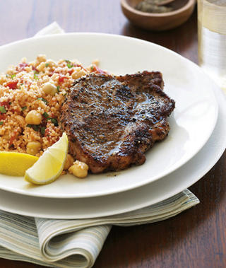 Easy Lemon Lamb Chops Recipe With Mint Garbanzo Couscous