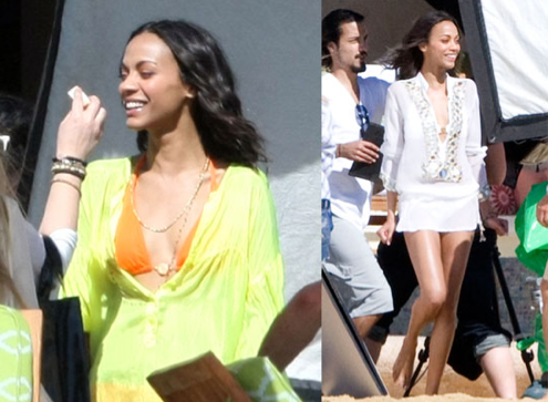 Photos of Avatar's Zoe Saldana Wearing a Bikini in Cabo San Lucas, Mexico