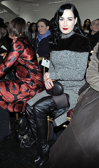 Dita Von Teese attends the Jean Paul Gaultier show in Paris during Paris Fashion Week