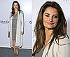 Penelope Cruz Attends Calvin Klein Party in LA in Gray Coat and Dress