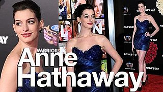 Anne Hathaway on the red carpet at the Valentines Day Movie Premiere in Marchesa Mini Dress: Celeb Style