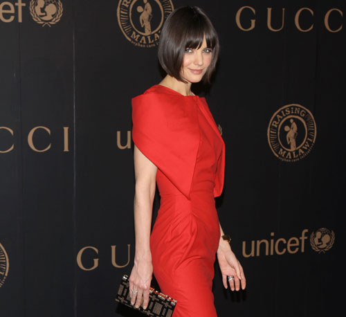Katie Holmes had on a sleek red McQueen dress for a 2008 charity event in NYC.