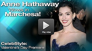 Anne Hathaway at Valentine's Day Movie Premiere in Marchesa