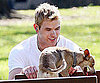 Slide Photo of Kellan Lutz at the Park in LA with His Dogs Kevin and Kola