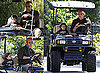 Photos of MM and Levi in a Golf Cart