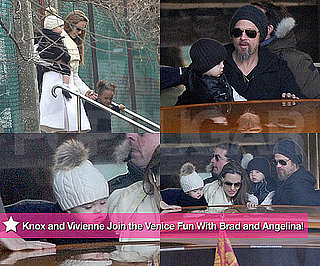 Photos of Angelina Jolie, Brad Pitt, Knox Jolie-Pitt, and Vivienne Jolie-Pitt Together in Venice