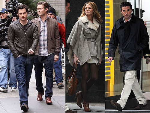 Photos of Blake Lively, Billy Baldwin, Chace Crawford and Penn Badgley on the Set of Gossip Girl