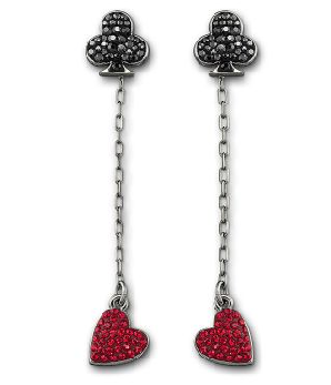 Swarovski Red Queen Cards Pierced Earrings ($85)