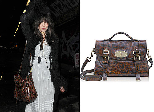 Photos of Daisy Lowe with a Mulberry Alexa Handbag in Leopard Print