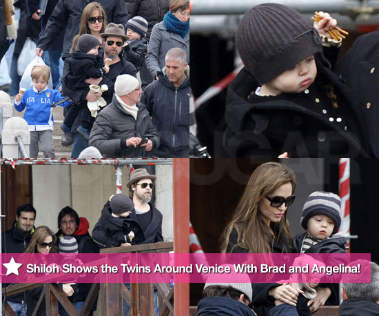 Shiloh Shows the Twins Around Venice With Brad and Angelina!