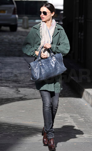 Photo of Miranda Kerr Holding Blue Balenciaga Satchel in Paris