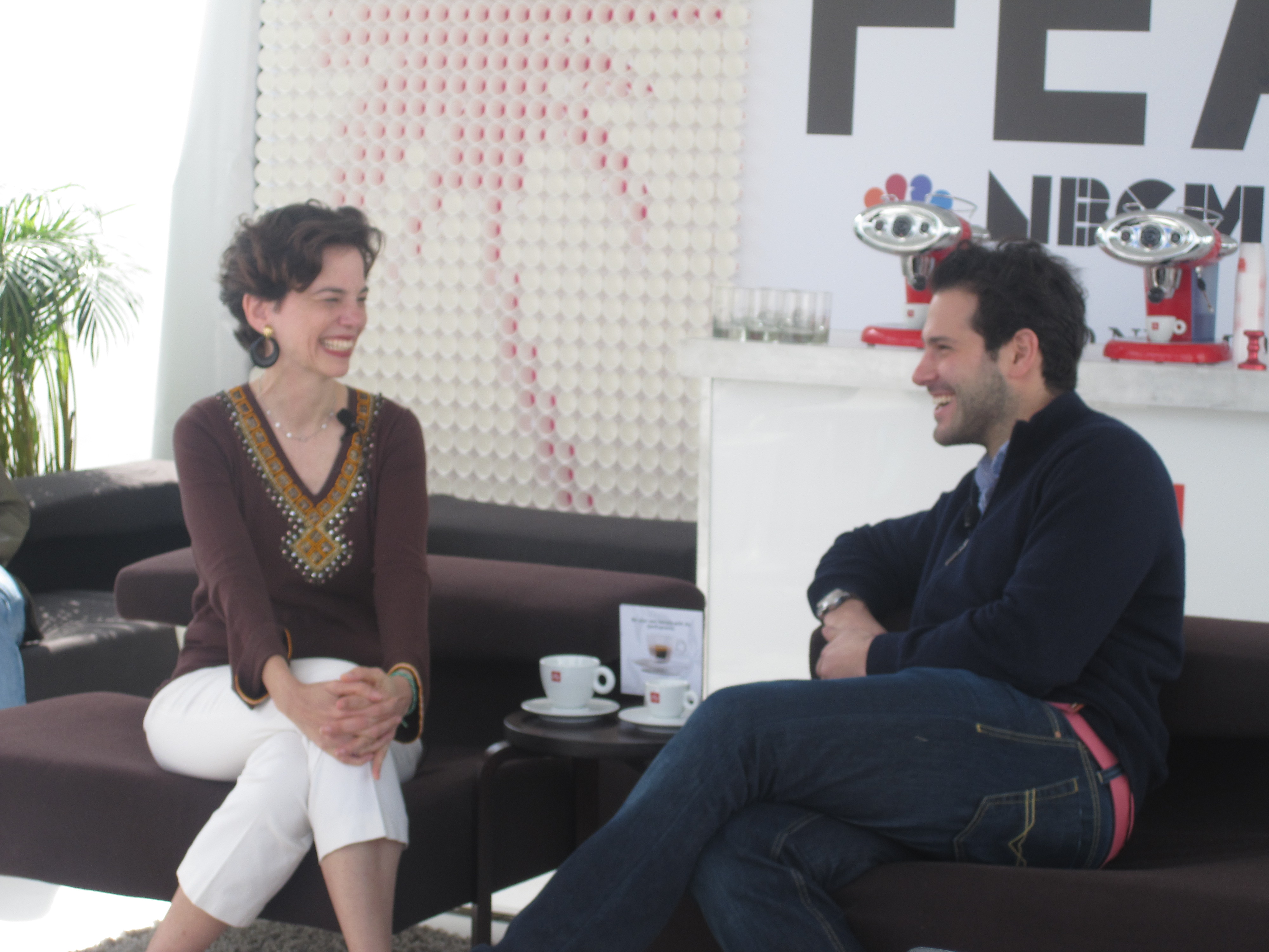 Editor-in-chief of Food & Wine Dana Cown happily chats with Ben Leventhal.