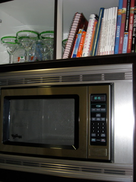 Microwave and cookbooks