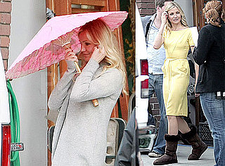 Photos of Cameron Diaz on the Los Angeles Set of Knight and Day in a Yellow Dress