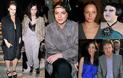 Photos of Celebrities at Paris Fashion Week Front Row Including Lindsay Lohan, Kylie Minogue, Paul McCartney, Thandie Newton