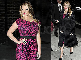 Photos of Jessica Simpson Arriving at The Late Show Wearing a Knee-Length Dress