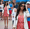 Kourtney Kardashian in Miami in Coral Print Romper and Ivory Blazer