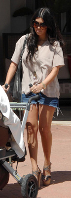 Kourtney Kardashian Wears Jean Shorts in Miami
