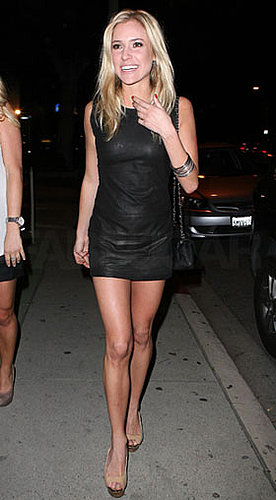 Photo of Kristin Cavallari Wearing Leather Minidress in LA