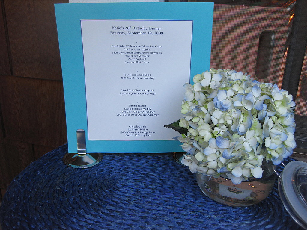I hosted a late-Summer, four-course dinner with wine pairings in Walnut Creek for 22 of my closest friends. The colors were navy, turquoise, and white — a theme I established with the invites.