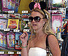 Slide Photo of Britney Spears Wearing Minnie Mouse Ears While Shopping in a White Tube Dress
