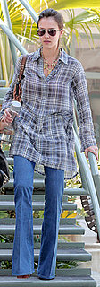 Jessica Alba Wears Plaid and Bell Bottom Jeans