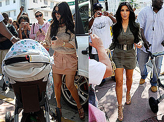 Photos of Kim Kardashian Wearing a Short Jumper With Kourtney Kardashian and Mason Disick