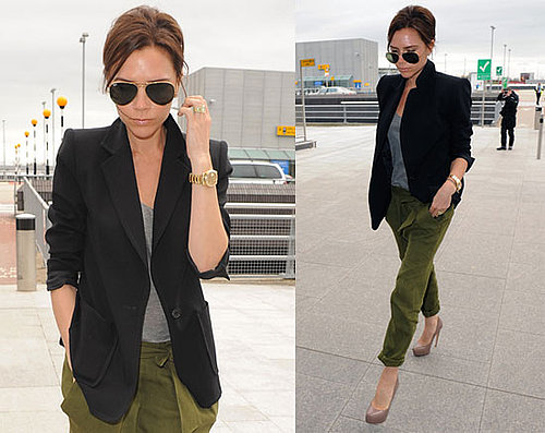 Victoria Beckham Wearing Silk Cargos, Black Blazer, and Ray Ban Aviator Sunglasses