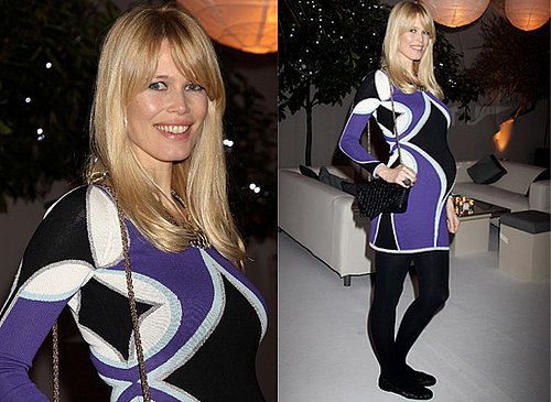 Pregnant Claudia Schiffer at the Kick Ass Premiere in a Temperley London Purple Dress