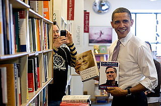 Photo of President Obama in Iowa Bookstore