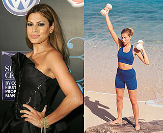 Eva Mendes Shoulder Workout: Punch-Ups With Dumbbells