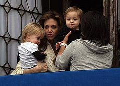 Angelina Jolie shows off the twins
