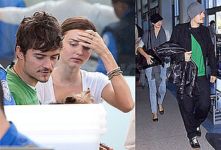 Photos of Miranda Kerr and Orlando Bloom at LAX With Her Dog