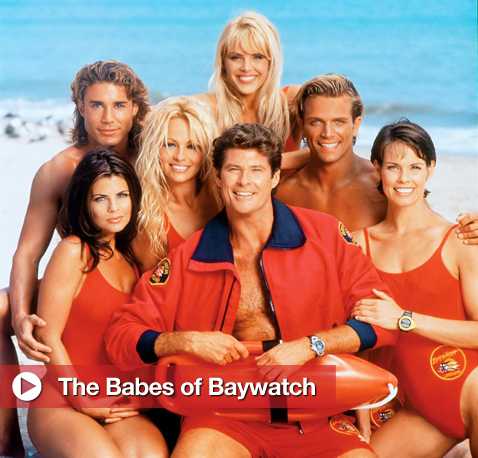 Vintage Swimsuit Photos of the Cast of TV&#039;s Baywatch, Including Pamela Anderson, David Hasselhoff, Carmen Electra