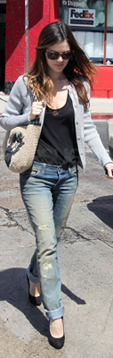 Rachel Bilson Wears Distressed Jeans