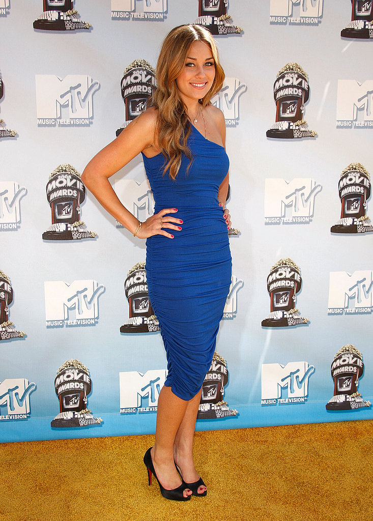 At the 2008 MTV Movie Awards in a figure-hugging dress of her own design.