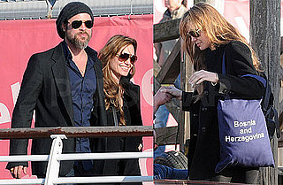Photos of Brad Pitt With Trimmed Beard and Angelina Jolie Arriving Back in Venice From Bosnia