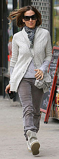 Sarah Jessica Parker Wears Cable Knit Cardigan in NYC