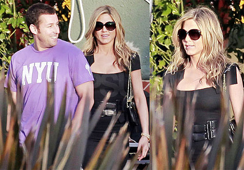 Pictures of Jennifer Aniston In a LBD Filming With Adam Sandler