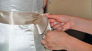 How to DIY a Sash on Your Wedding Dress