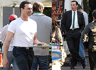 Pictures of Jon Hamm Filming Mad Men Season Four