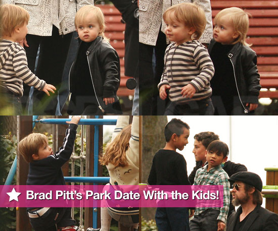 More New Photos! Brad Pitt's Park Date With the Kids!