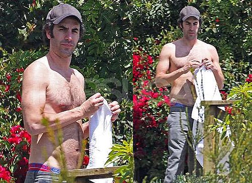 Photos of Sacha Baron Cohen Shirtless as Isla Fisher Shows Her Baby Bump Pregnancy